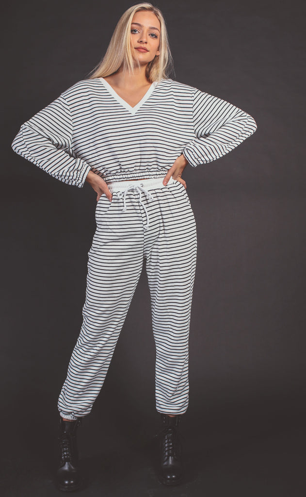 better together striped lounge set