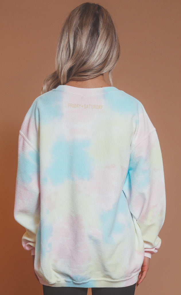 friday + saturday: smiley face corded sweatshirt - tie dye