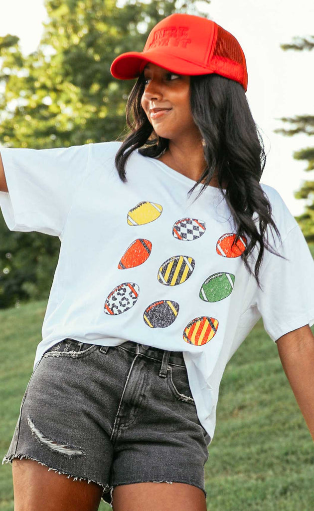 friday + saturday: retro football crop t shirt