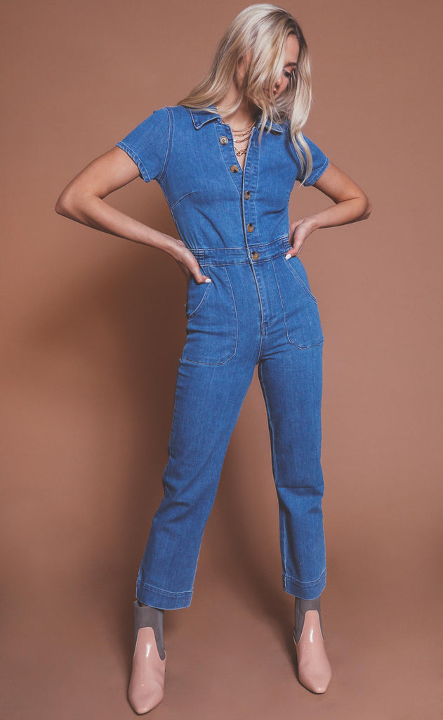 show me your mumu: emery jumpsuit - french blue