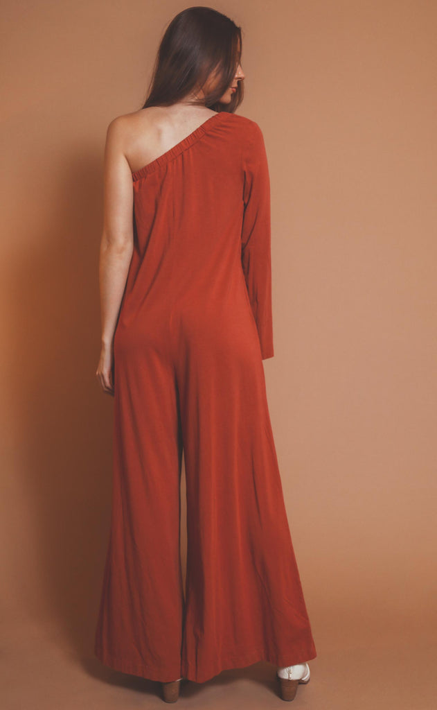 bobi los angeles: one shoulder jumpsuit - canyon