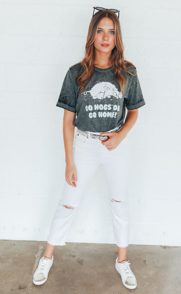 charlie southern: go hogs or go home acid wash t shirt