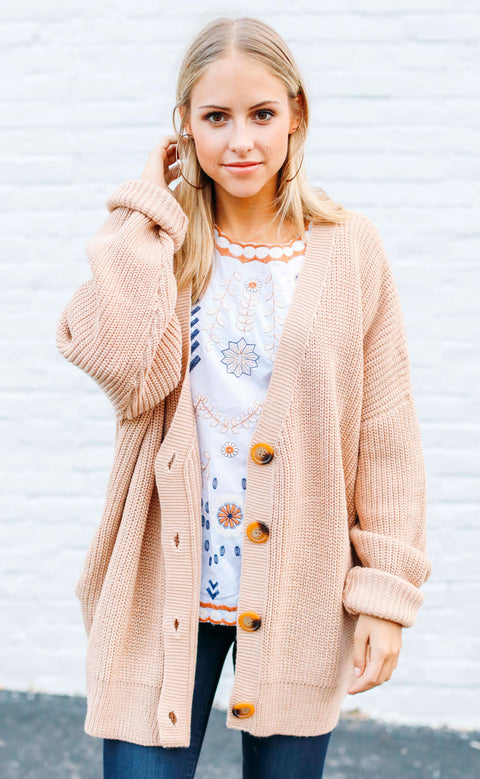 fireside feels knit cardigan - dusty blush