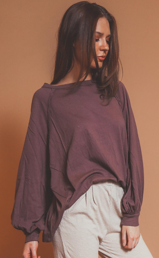 free people movement: she's everything solid long sleeve - violet