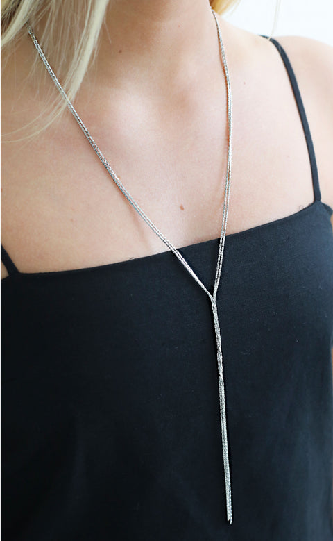 chain reaction layered necklace - silver