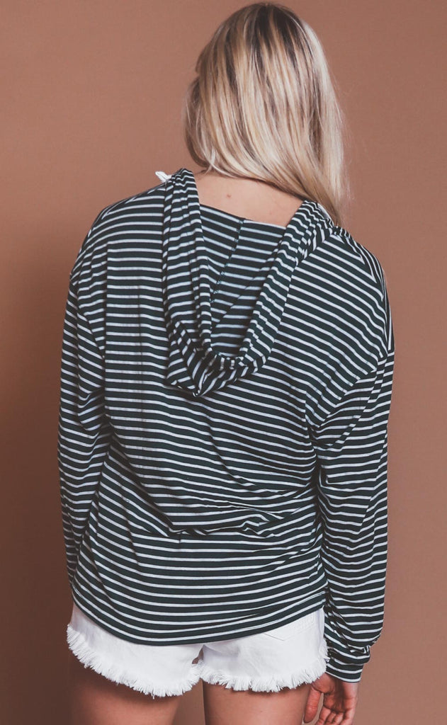 weekend wear striped hoodie