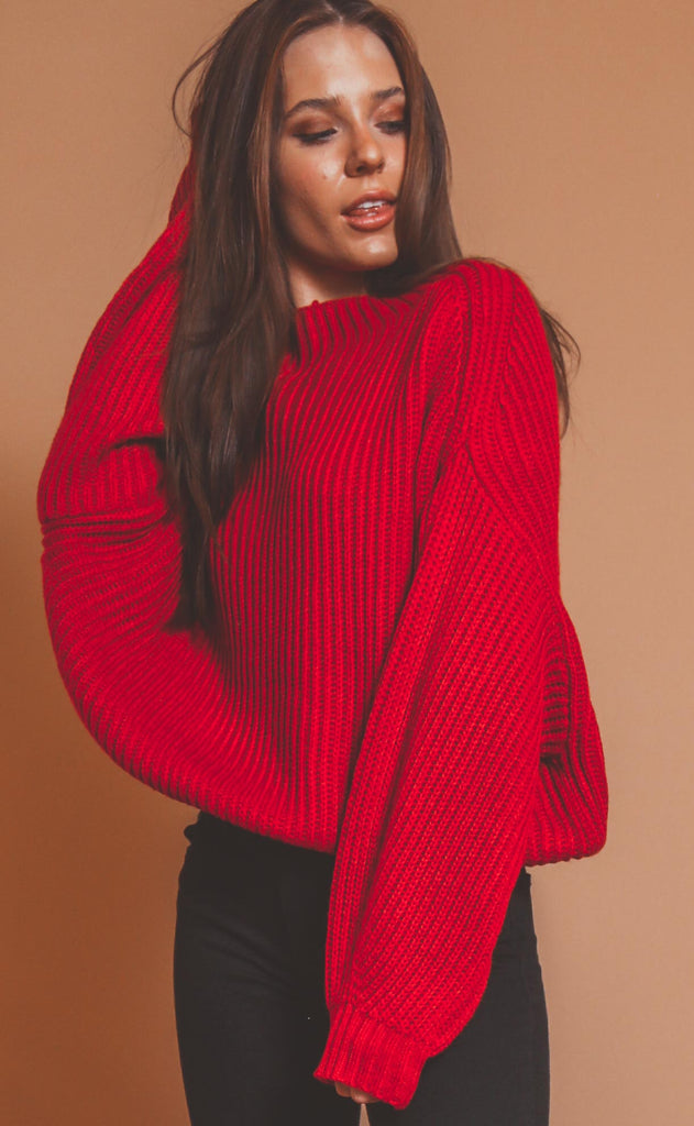 winter break mock neck sweater - red