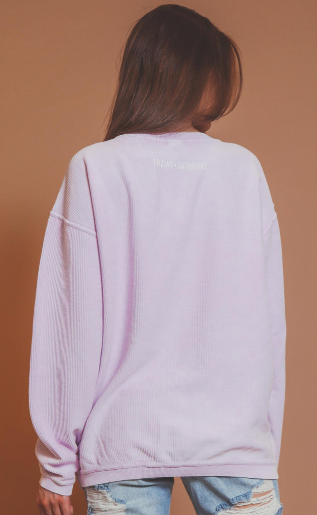 friday + saturday: mama corded sweatshirt - lilac
