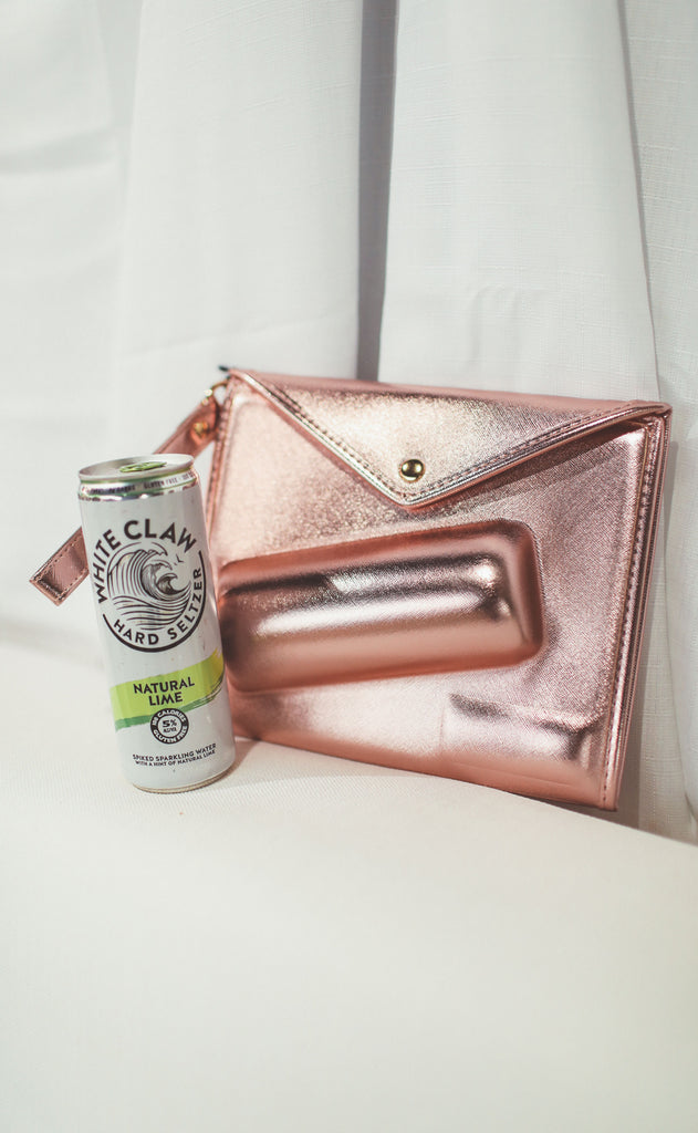 slim can clutch - rose gold