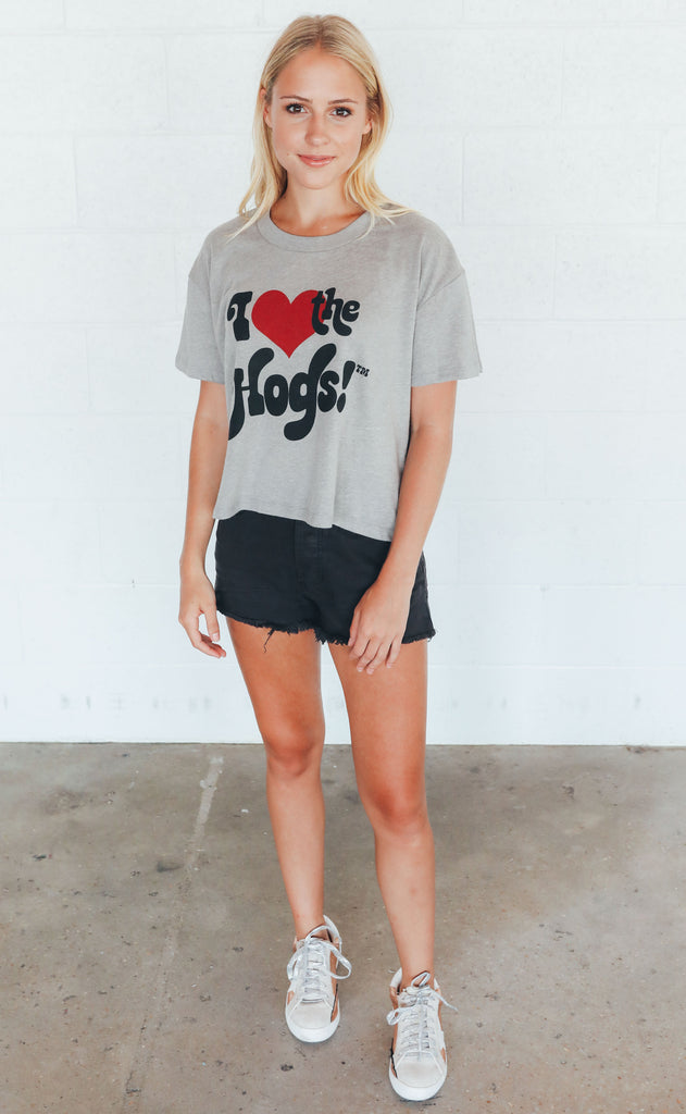 charlie southern: i heart the hogs crop t shirt