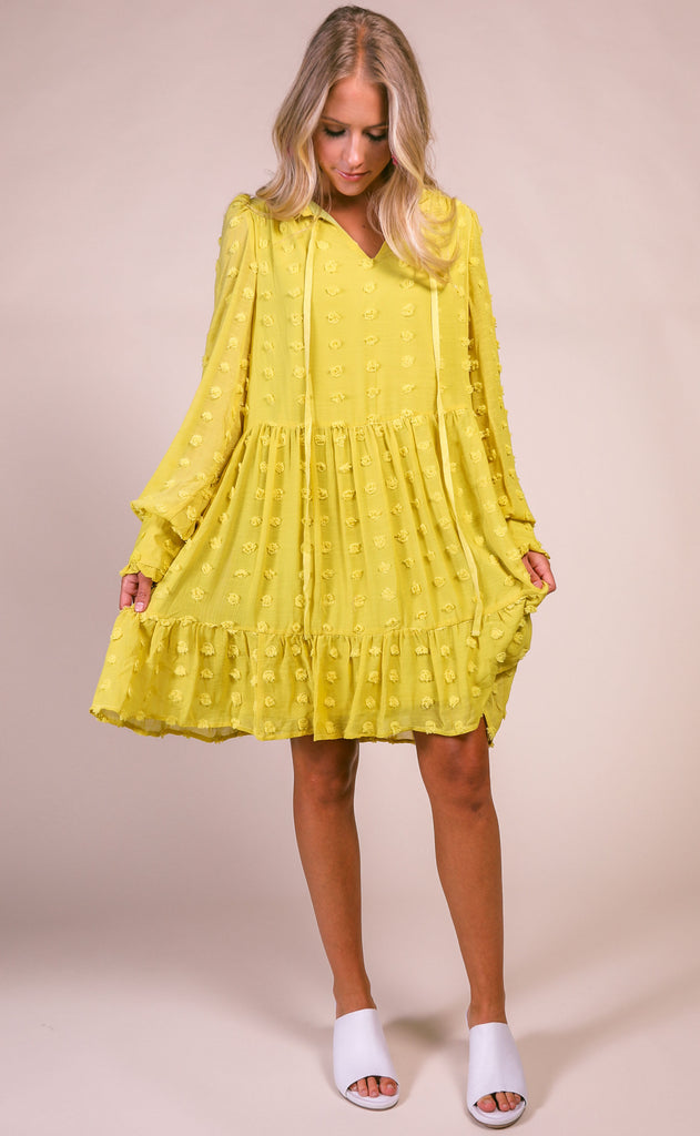 tulum textured dress - chartreuse