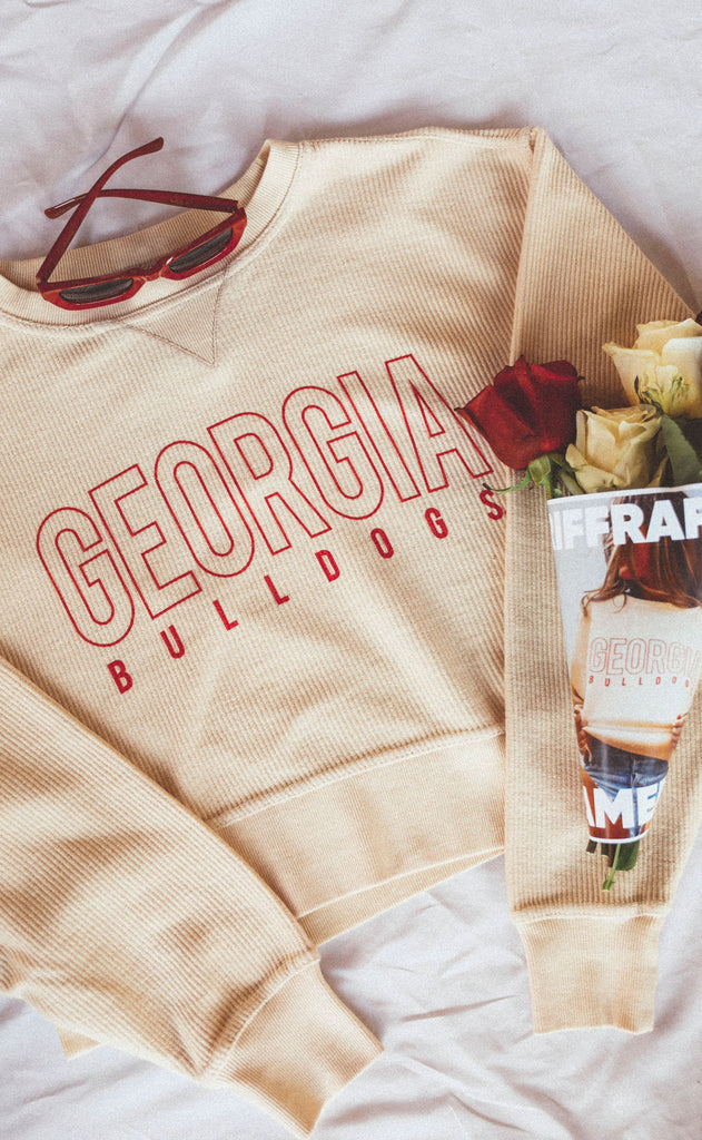 charlie southern: georgia bulldogs corded crop sweatshirt