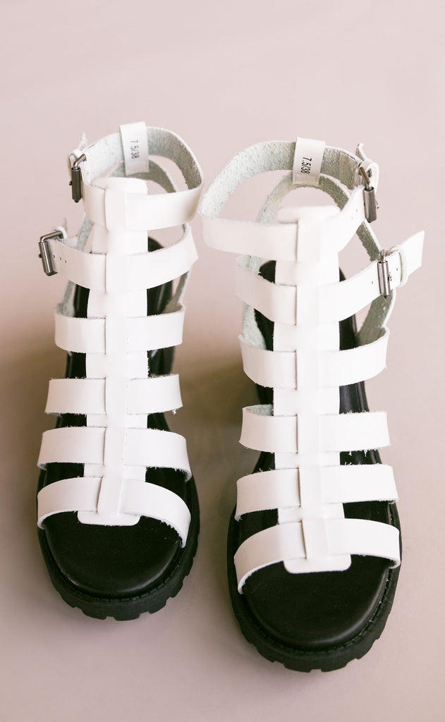 fun stuff strappy heel - white