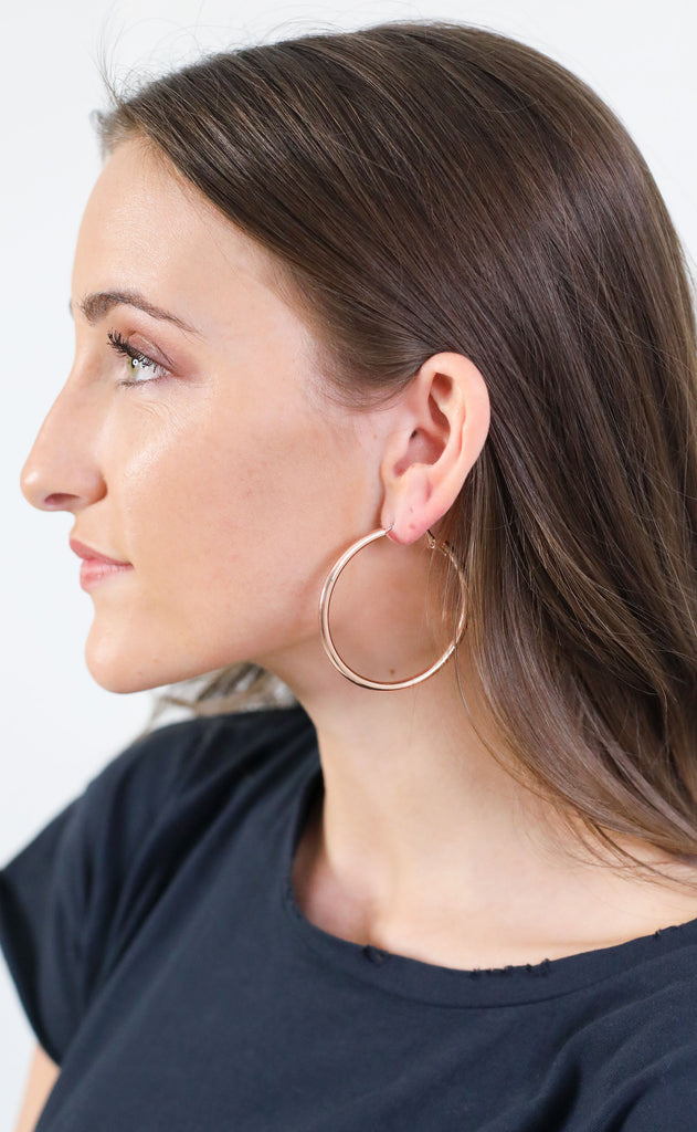 favorite hoop earrings - rose gold