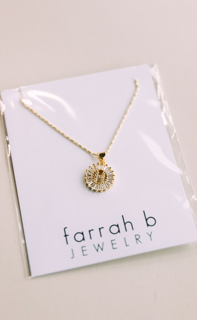 farrah b: yours truly initial necklace