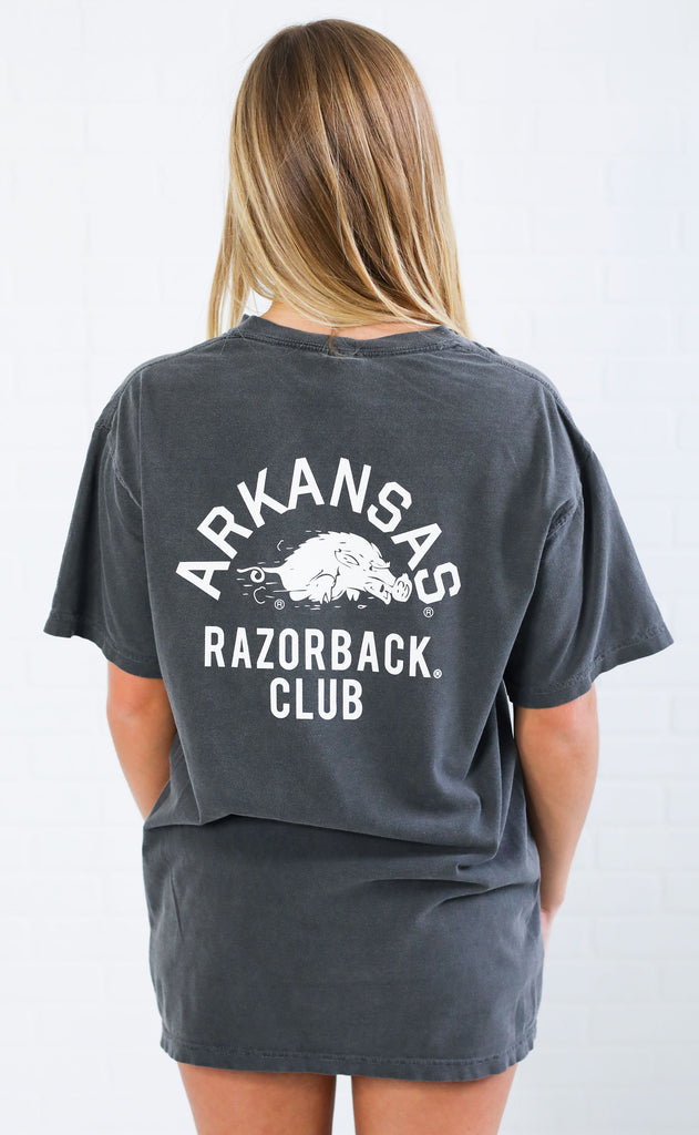 charlie southern: razorback club comfort colors pocket t shirt