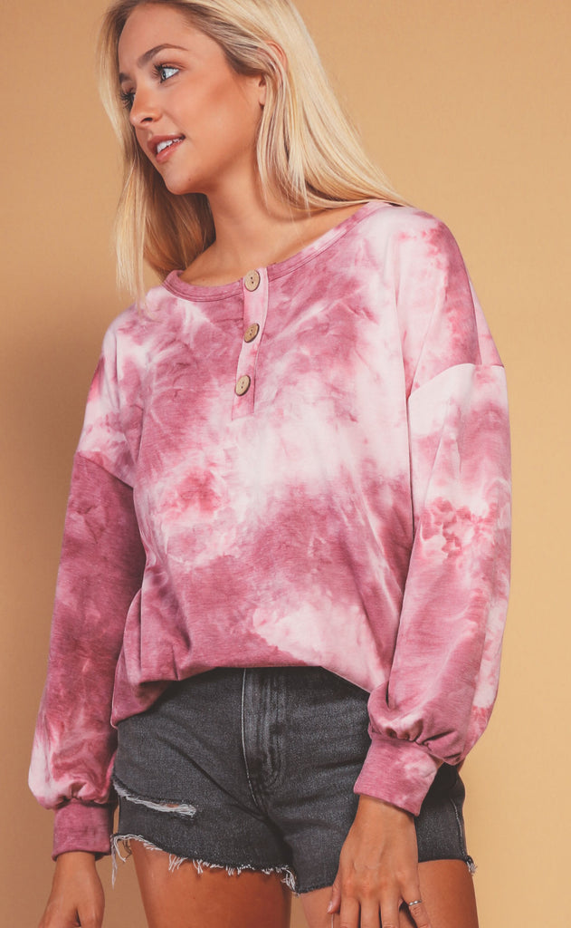 crisp air button up top - pink