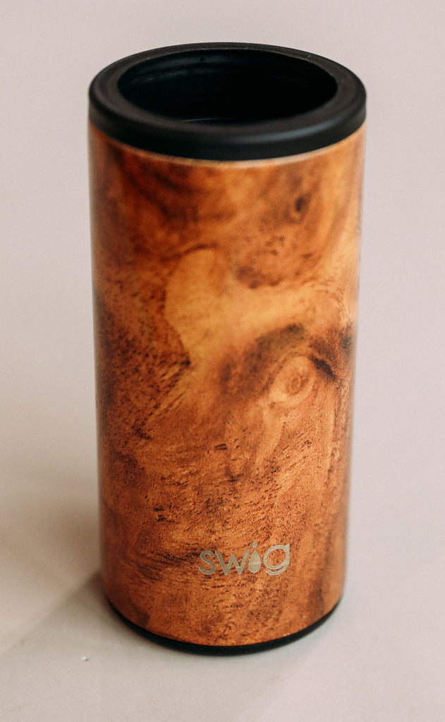 swig: 12 oz. skinny can cooler - black walnut