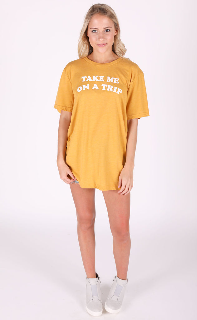 friday + saturday: take me on a trip t shirt