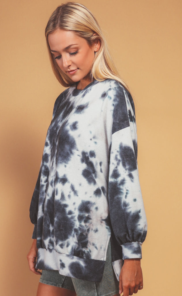 woodstock tie dye pullover - charcoal pullover