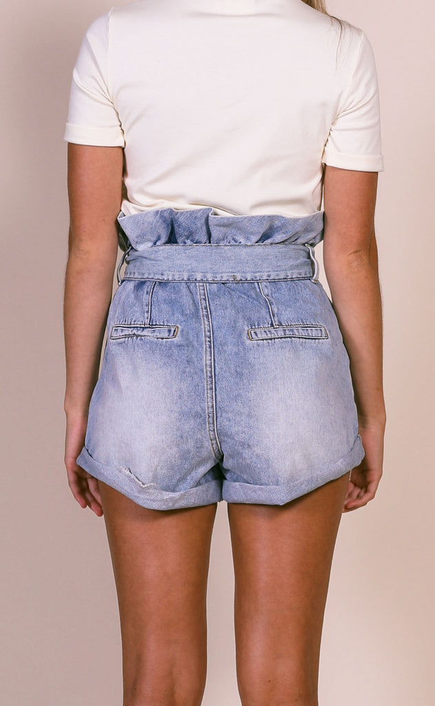 blank nyc: paperbag short - carribean blue