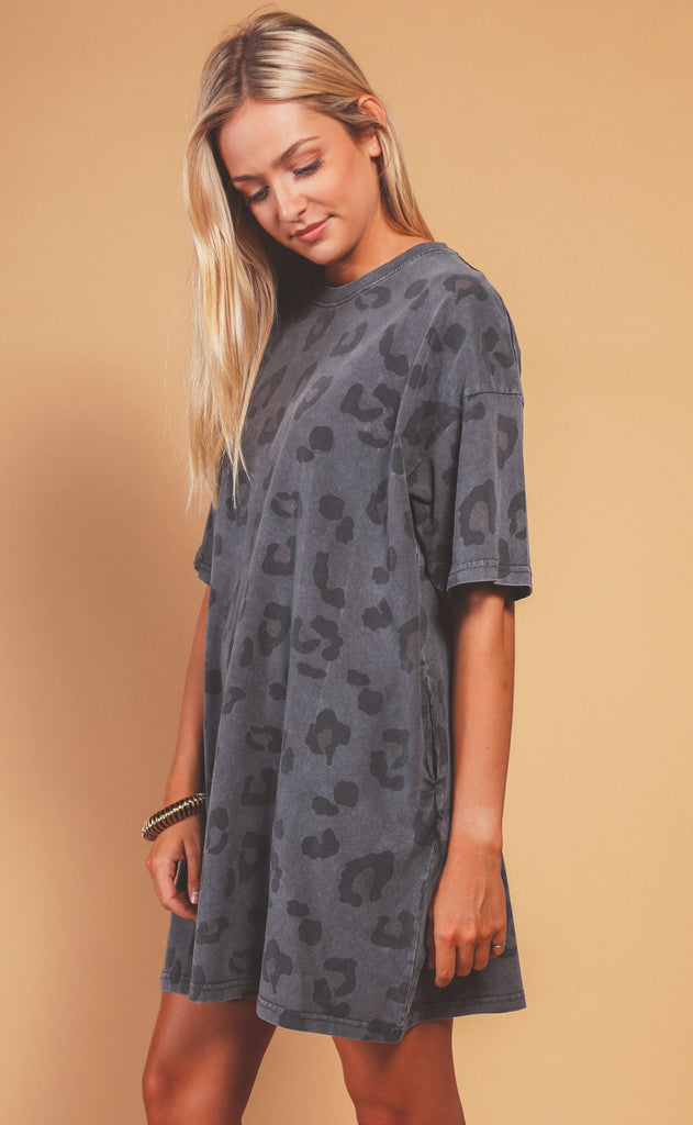 love it leopard tunic - charcoal
