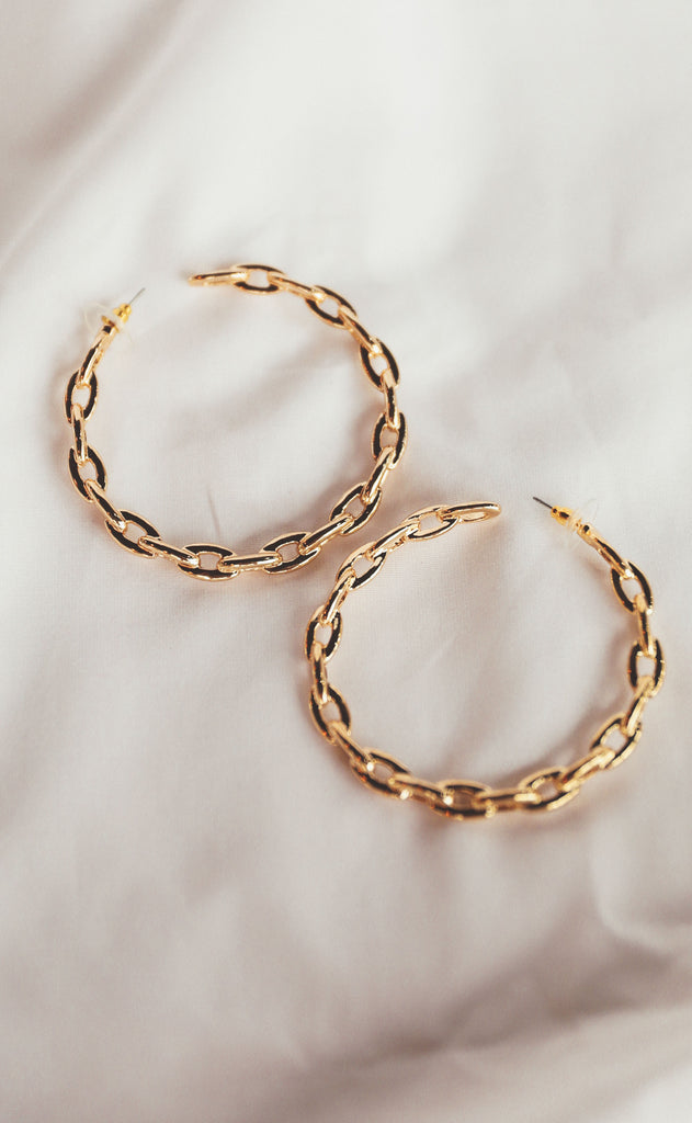 treasure jewelry: chain hoop earrings