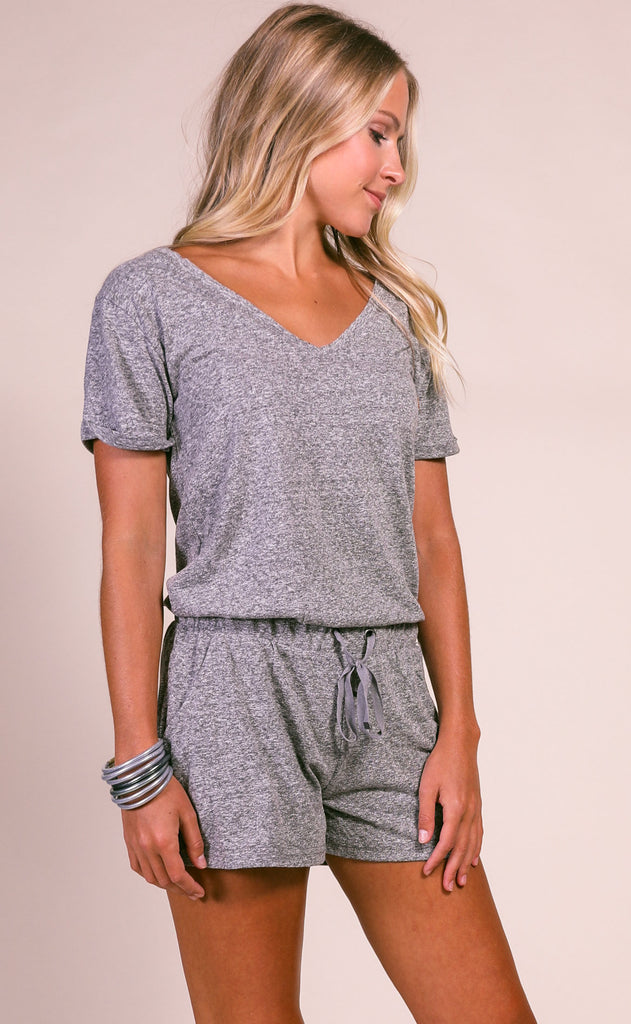 z supply: pia tri-blend romper - washed black