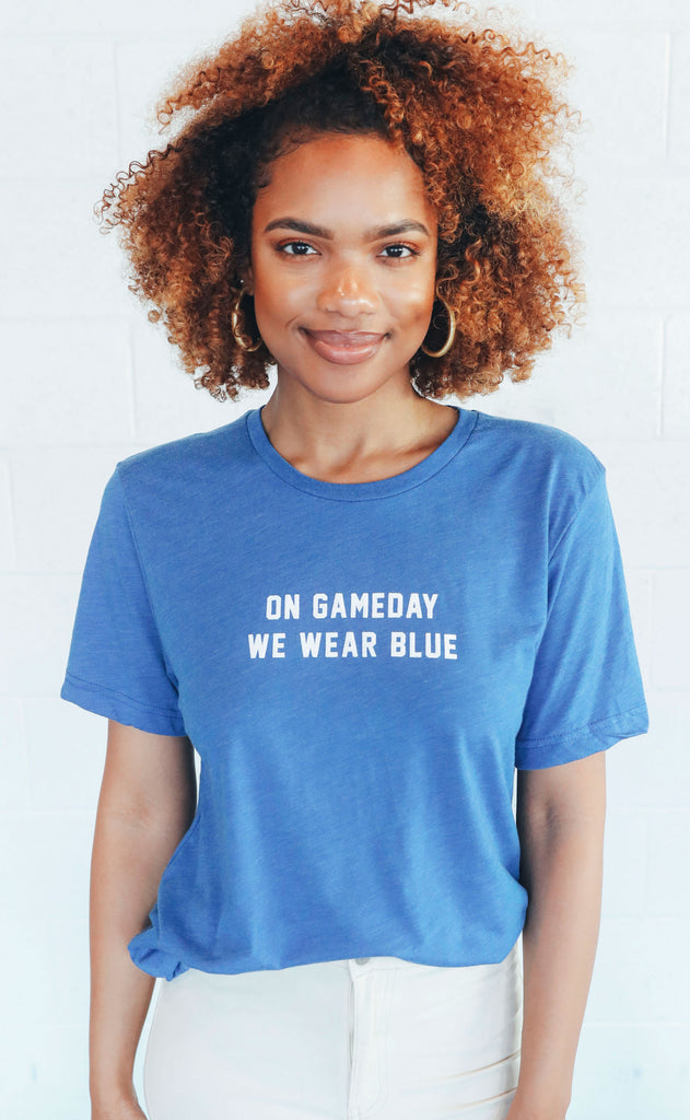 charlie southern: on gameday we wear blue t shirt