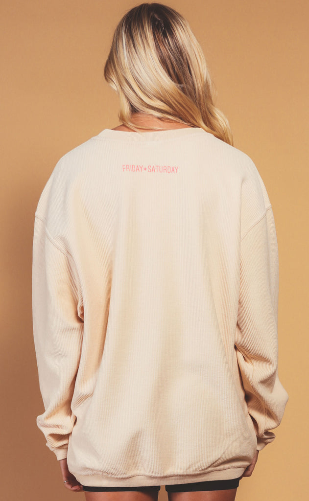 friday + saturday: big nap girl corded sweatshirt - hot pink/beige