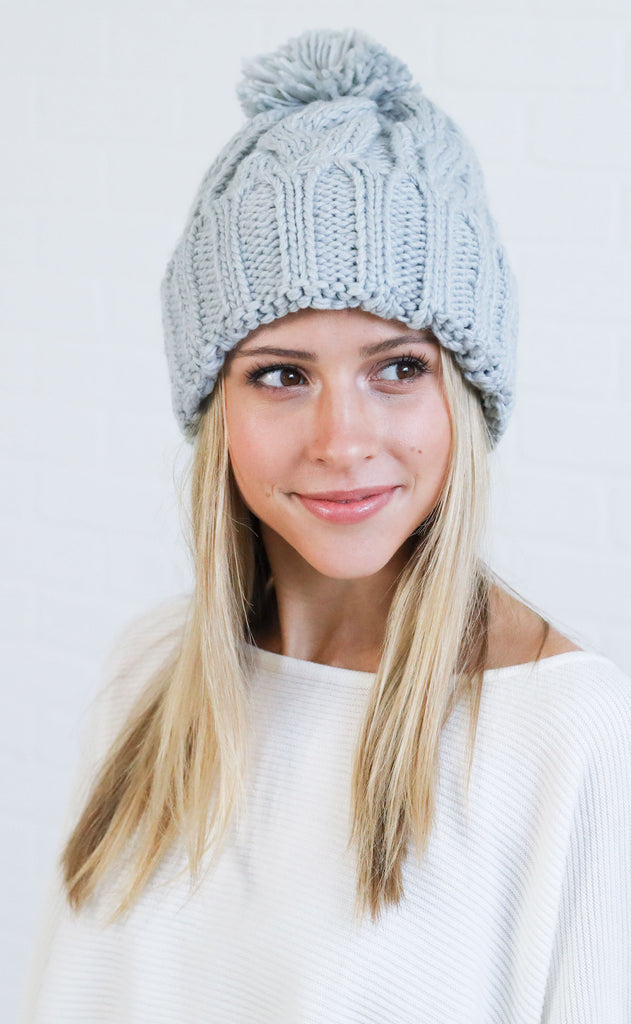 cable knit beanie - grey