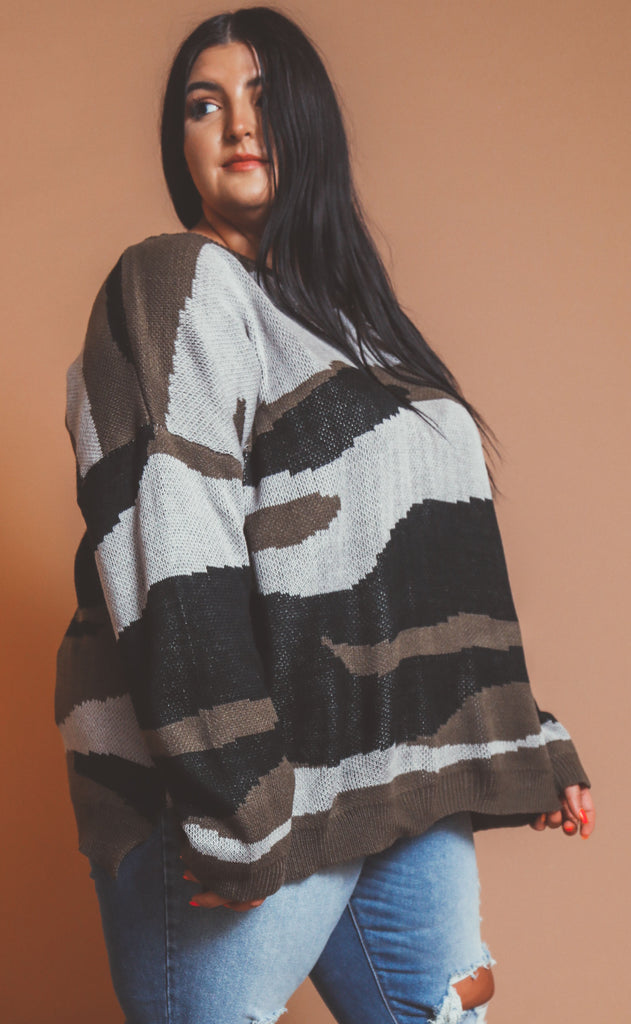cozy camo knit sweater - extended