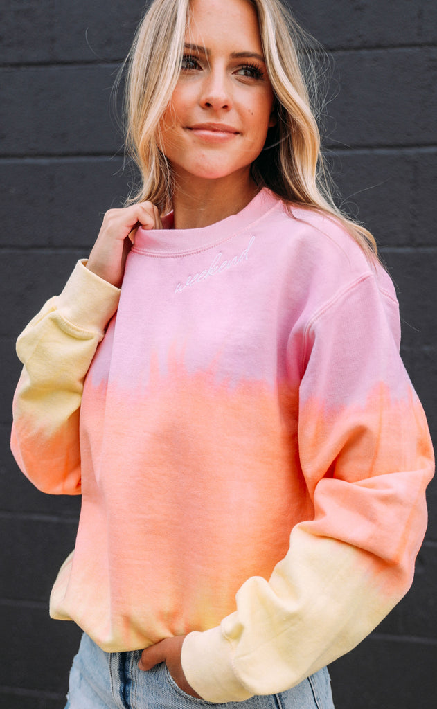 weekend ombre dip dye sweatshirt - pink