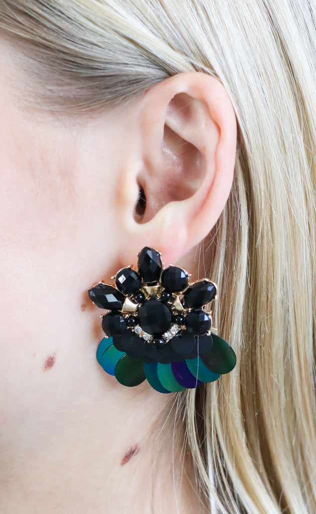 embellished stone earrings