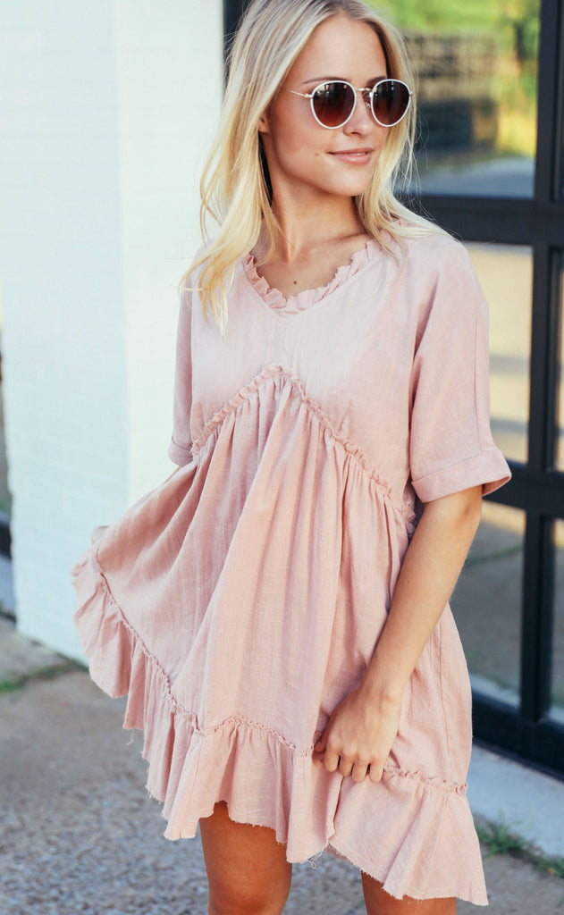 another day in paradise babydoll dress - mauve