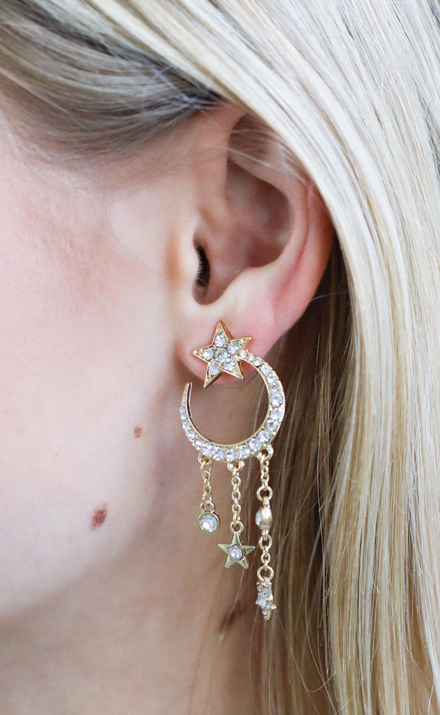 moon + star drop earrings