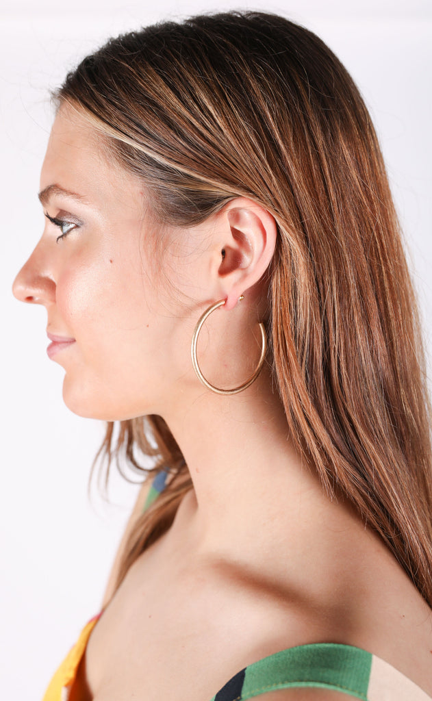 big bit matte hoop earrings