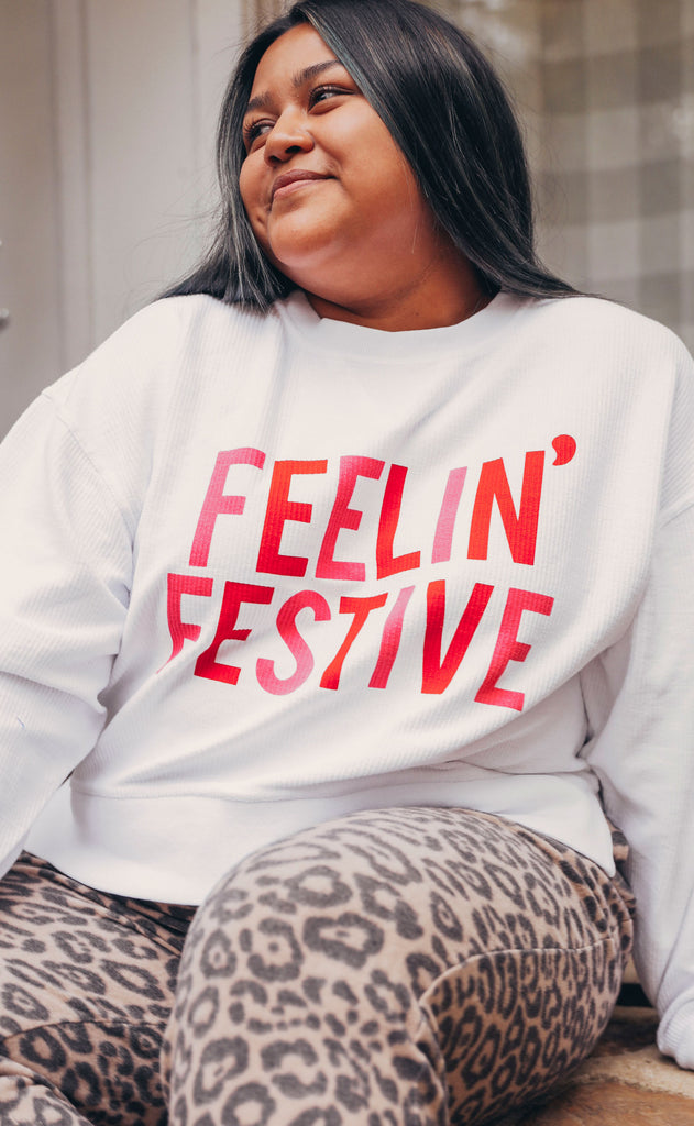 friday + saturday: feelin' festive crop corded sweatshirt