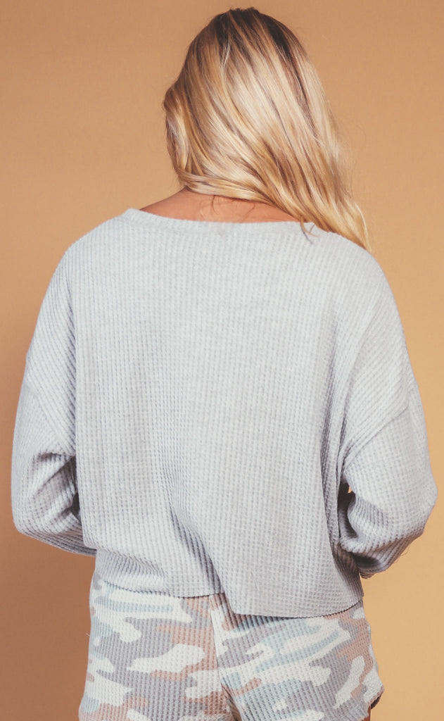 z supply: celine waffle knit top - heather gray