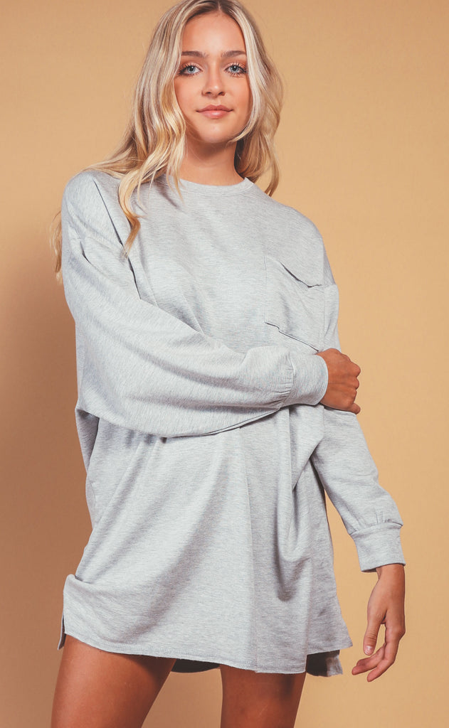 z supply: harper fleece dress - heather grey