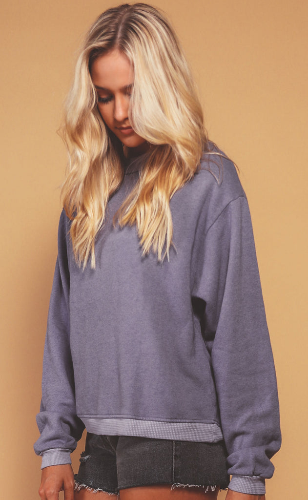 project social t: soko thermal trim sweatshirt - shadow violet