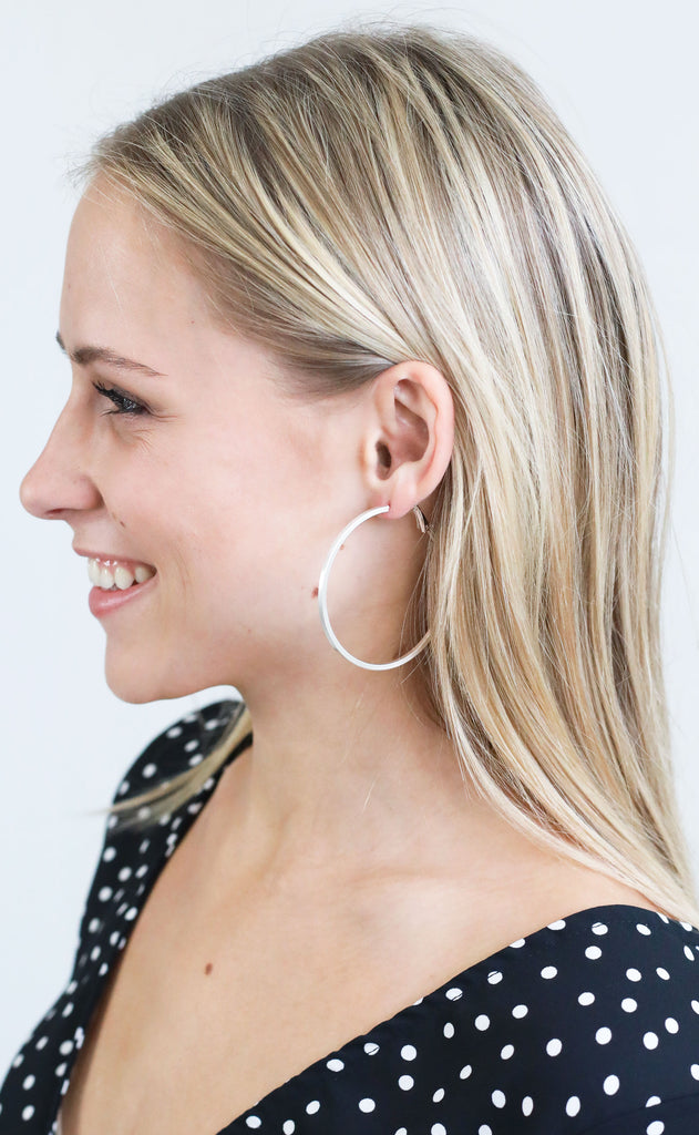 narrow hoop earrings - matte silver