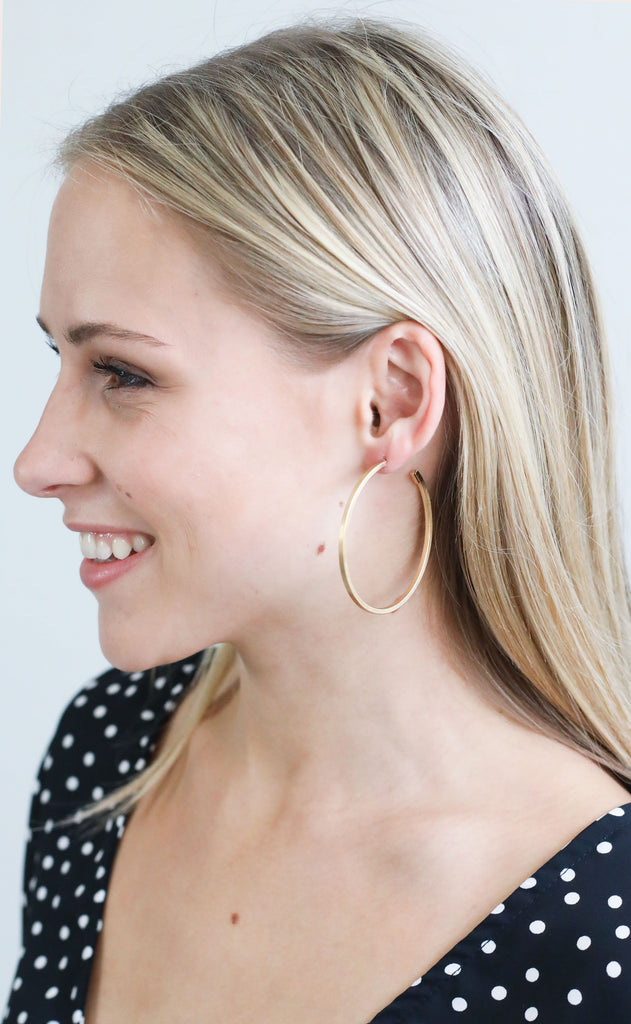 narrow hoop earrings - matte gold