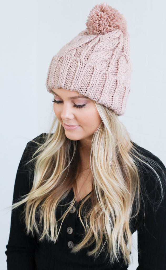 cable knit beanie - blush