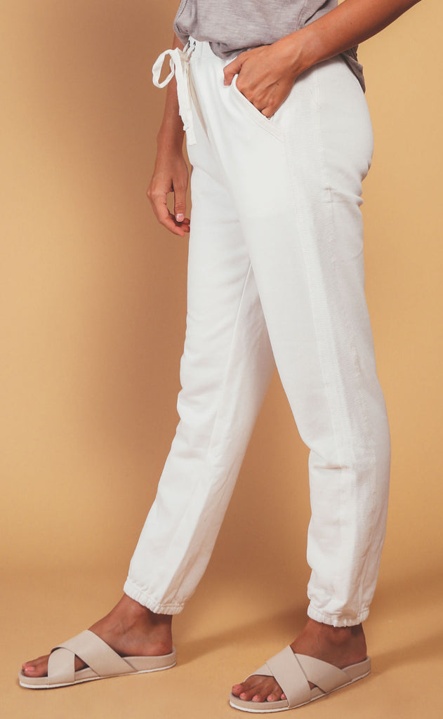 fireside fleece joggers - white