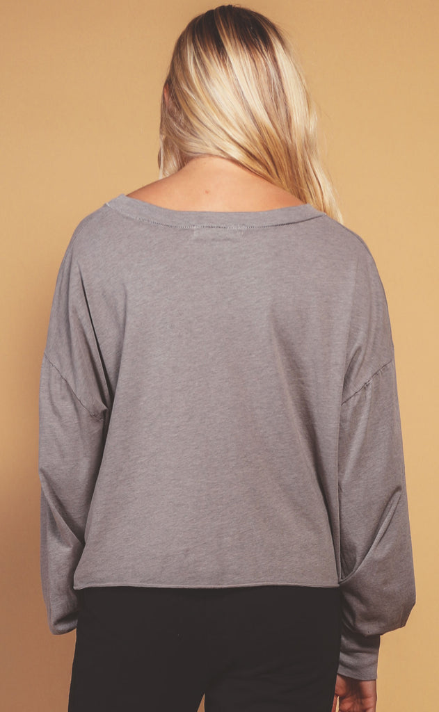 project social t: axel long sleeve tee- almond latte