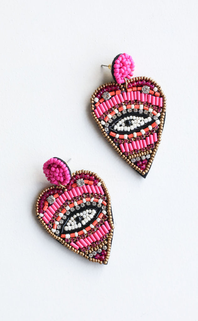 eye heart you statement earrings - hot pink