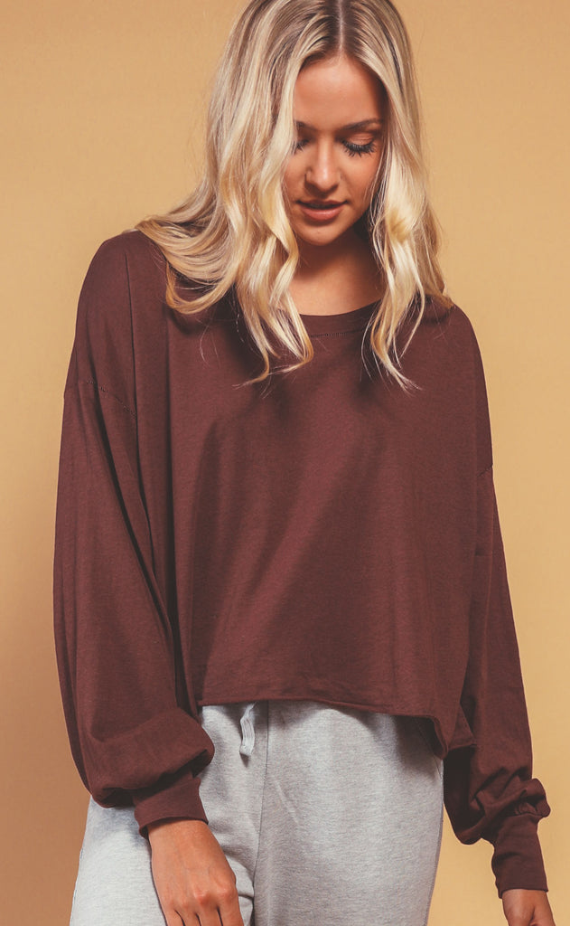 project social t: axel long sleeve tee - coffee berry