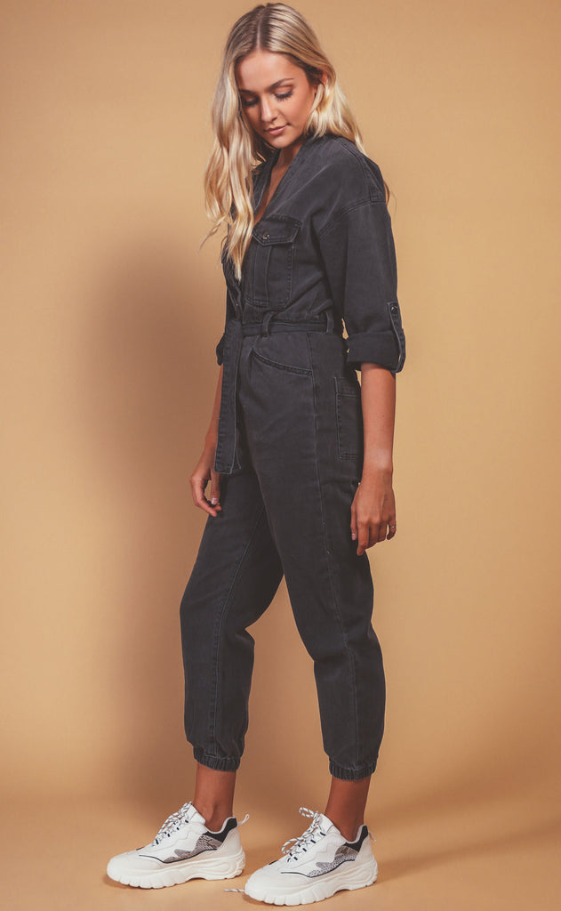 blank nyc: my kinda party denim jumpsuit