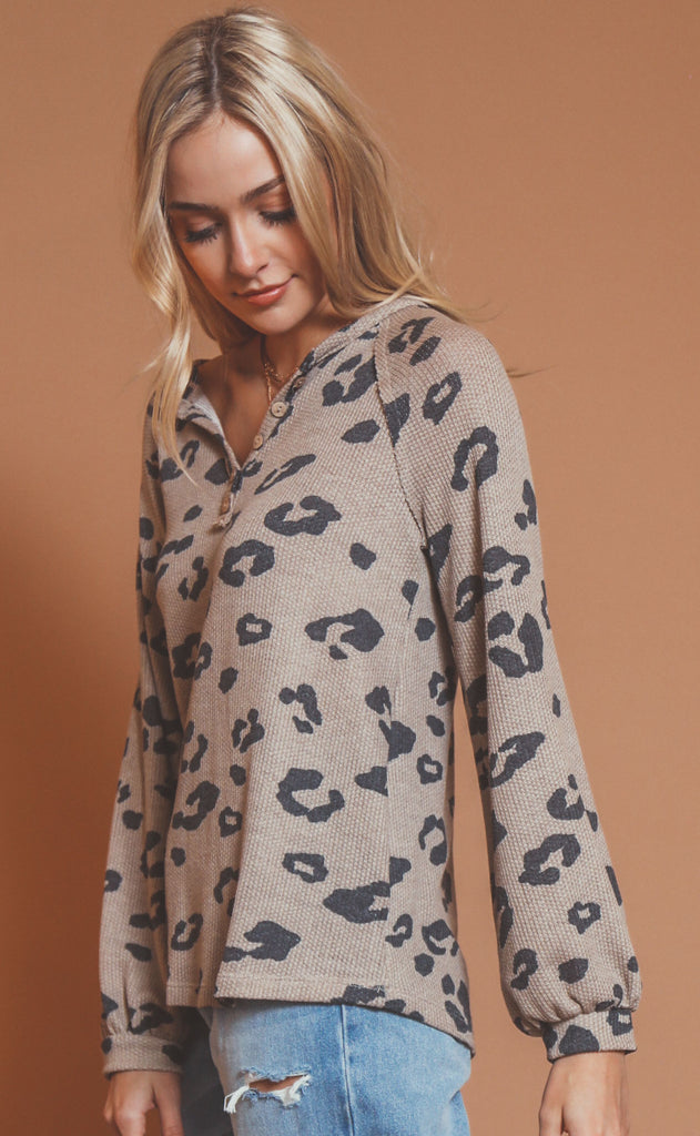 adventure time printed henley - taupe